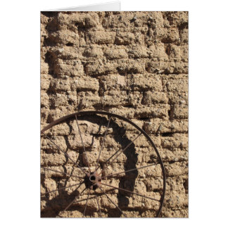 Wagonwheel on Brick Wall Card