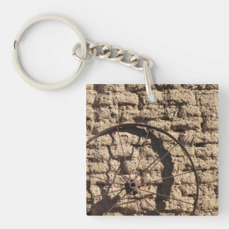 Wagonwheel on Brick Wall Keychain