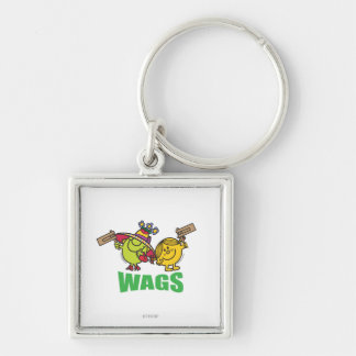 Wags Silver-Colored Square Keychain