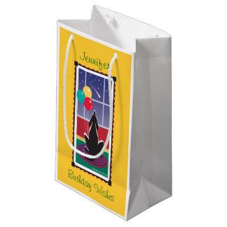 WagsToWishes_Balloons y cumpleaños Wishes_Yellow Bolsa De Regalo Pequeña