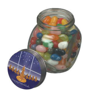WagsToWishes_Menorah Dogs Glass Candy Jar