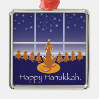 WagsToWishes_Menorah Dogs_Hanukkah Medallion Square Metal Christmas Ornament