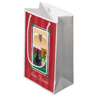 WagsToWishes®_Merry Kissmas_red wrapping paper Small Gift Bag