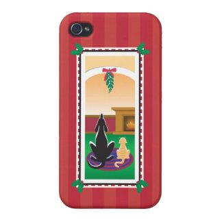 WagsToWishes®_Pets debajo de mistletoe_red-striped iPhone 4 Carcasas