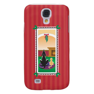WagsToWishes®_Pets under mistletoe_red-striped Galaxy S4 Cover
