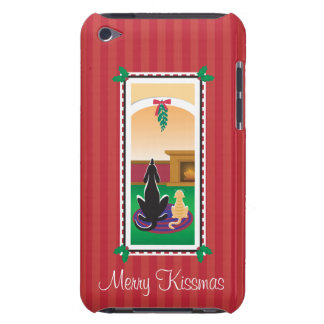 WagsToWishes®_Pets under mistletoe_red-striped iPod Touch Cover