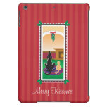 WagsToWishes®_Pets under mistletoe_red-striped iPad Air Cover