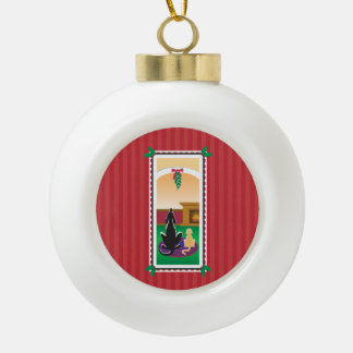 WagsToWishes®_Pets under mistletoe_red-striped Ceramic Ball Christmas Ornament