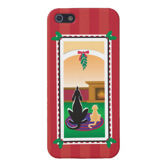 WagsToWishes®_Pets under mistletoe_red-striped iPhone 5 Case