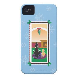 WagsToWishes®_Pets under mistletoe_snowflakes iPhone 4 Case-Mate Case