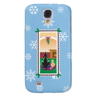 WagsToWishes®_Pets under mistletoe_snowflakes Galaxy S4 Covers