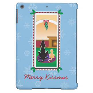 WagsToWishes®_Pets under mistletoe_snowflakes iPad Air Cases
