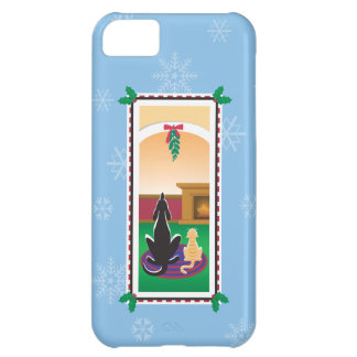 WagsToWishes®_Pets under mistletoe_snowflakes Cover For iPhone 5C