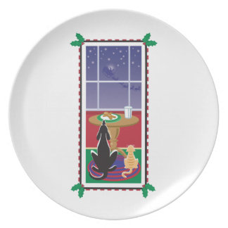 WagsToWishes®_Pets waiting for Santa Claus Dinner Plate