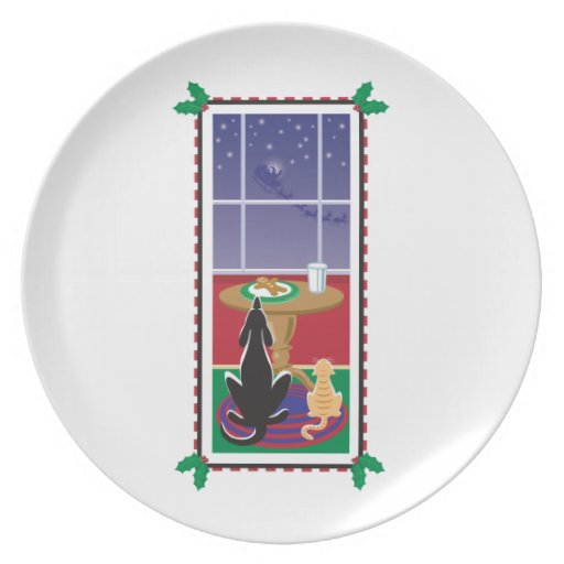 WagsToWishes®_Pets waiting for Santa Claus Dinner Plates