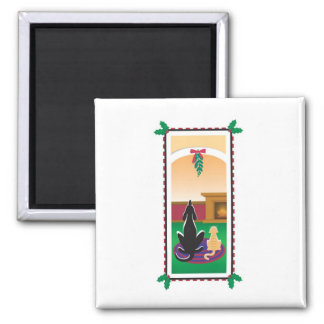 """WagsToWishes_""""Under the Mistletoe"""" 2 Inch Square Magnet"""