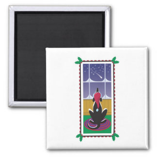 WagsToWishes_Wishing on a falling star 2 Inch Square Magnet