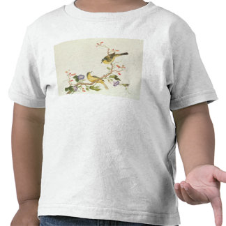 Wagtail amarillo con la cabeza azul camiseta