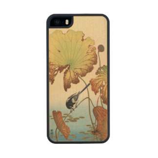 Wagtail and Lotus Vintage Japanese Carved® Maple iPhone 5 Case