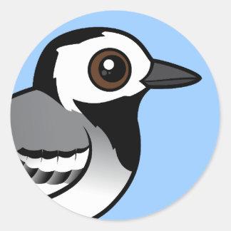 Wagtail del blanco de Birdorable Pegatina Redonda
