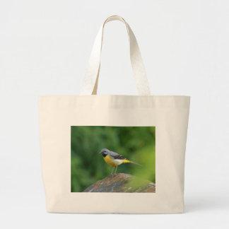 Wagtail gris - pájaro bolsa tela grande