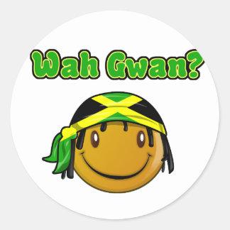 wah gwan etiqueta redonda