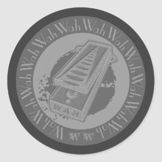 Wah Wah Pedal Grey Classic Round Sticker