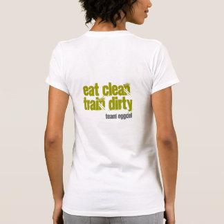 Wahine eat clean train dirty (white/olive) tees