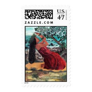 wahine hula kahiko postage stamp