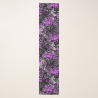 Wahine Lace Hawaiian Orchid Floral in Purple Scarf