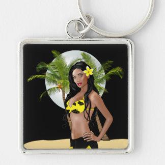Wahine Pinup 1 Aloha Keychain Black Night