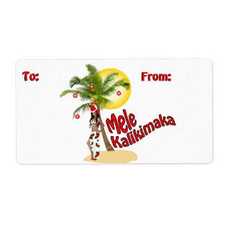 Wahine Pinup Christmas Gift Tag Labels