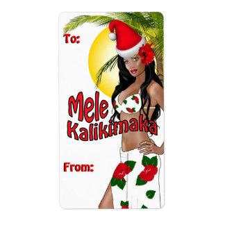 Wahine Pinup Christmas Gift Tag Labels 2