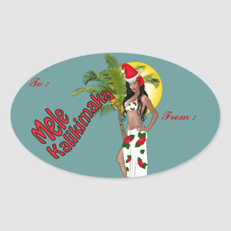 Wahine Pinup  Christmas Gift Tag Stickers