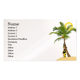 Wahine Pinup Coconut Tree Business Cards
