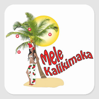 Wahine Pinup Mele Kalikimaka Christmas Stickers