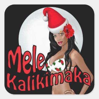 Wahine Pinup Mele Kalikimaka Christmas Stickers 2