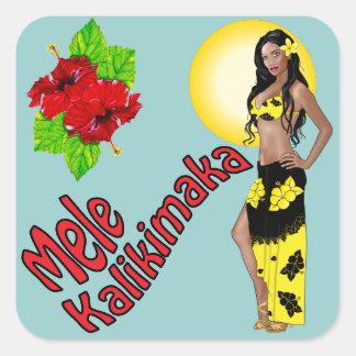 Wahine Pinup Mele Kalikimaka Christmas Stickers 3