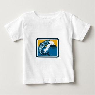 Wahoo Fish Jumping Fishing Boat Square Retro Baby T-Shirt