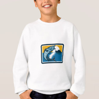 Wahoo Fish Jumping Fishing Boat Square Retro Sweatshirt