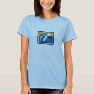 Wahoo Fish Jumping Fishing Boat Square Retro T-Shirt