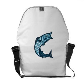 Wahoo Fish Jumping Isolated Retro Messenger Bag