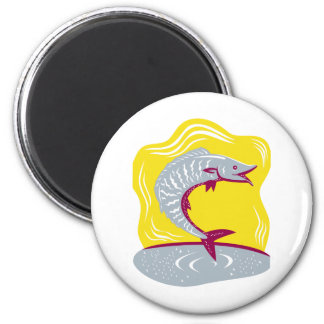 Wahoo Fish Jumping Retro 2 Inch Round Magnet