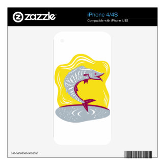 Wahoo Fish Jumping Retro Skins For iPhone 4S