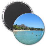 Waikiki Beach and Diamond Head Crater, Hawaii 2 Inch Round Magnet