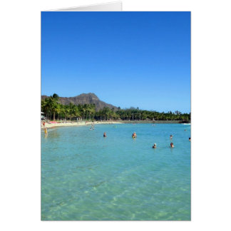 Waikiki Beach and Diamond Head Crater, Hawaii Card