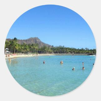 Waikiki Beach and Diamond Head Crater, Hawaii Classic Round Sticker