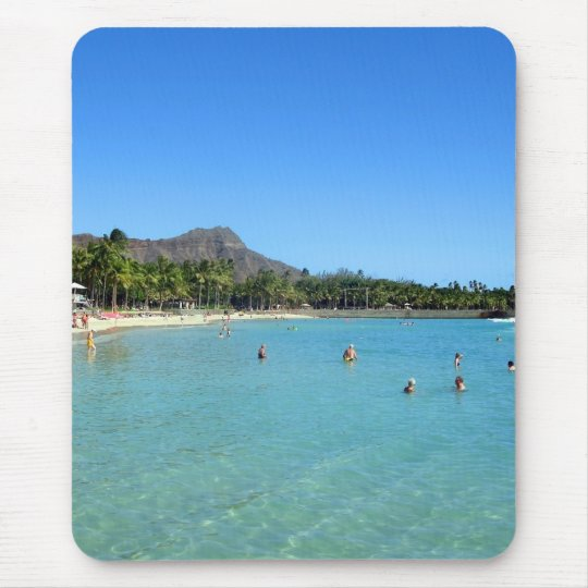 Waikiki Beach and Diamond Head Crater, Hawaii Mouse Pad