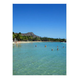 Waikiki Beach and Diamond Head Crater, Hawaii Poster