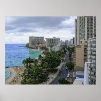 WAIKIKI BEACH and KALAKAUA AVENUE - HAWAII Print